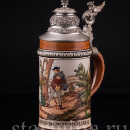 Старинная пивная Кружка Мельница 1/2 л, Hauber & Reuther, Германия, 1876-1910 гг.