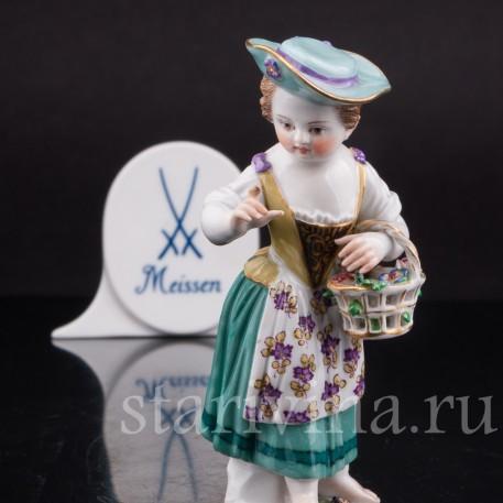 Фарфоровая статуэтка Девочка в шляпе, Meissen, Германия, вт пол. 20 века.