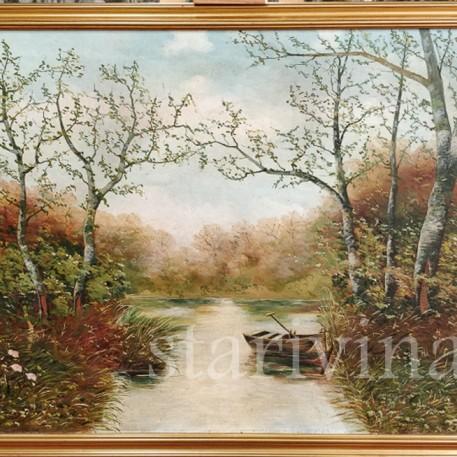 Картина маслом, пейзаж Лодка на берегу реки, Германия, 1930 гг.