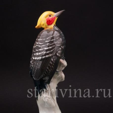 Фигурка птицы из фарфора Дятел кремовый целеус, Rosenthal, Германия, 1920 гг.