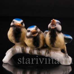 Фарфоровая статуэтка птиц Веселая компания, синицы лазоревки, Goebel, Германия, 1967 год.